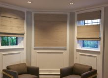 custom woven wood roman shades installation in boston