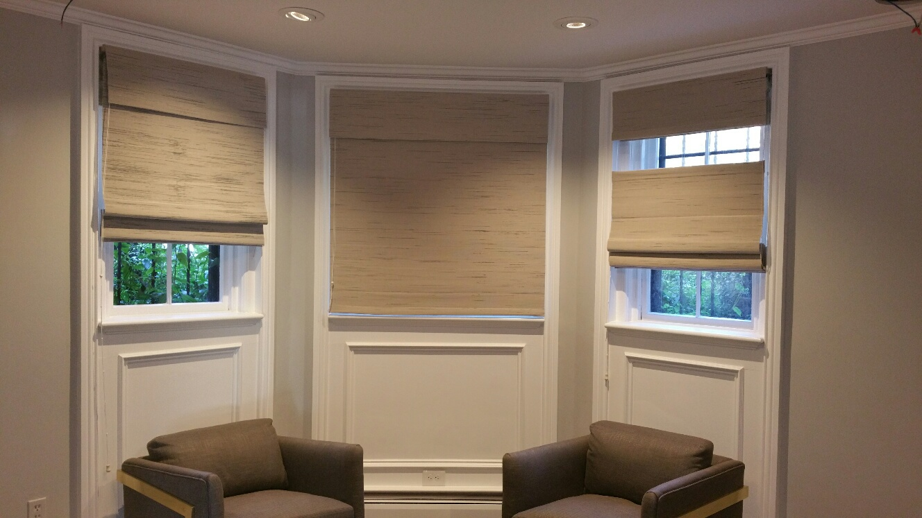 Custom Grass Cloth / Woven Wood Roman Shades