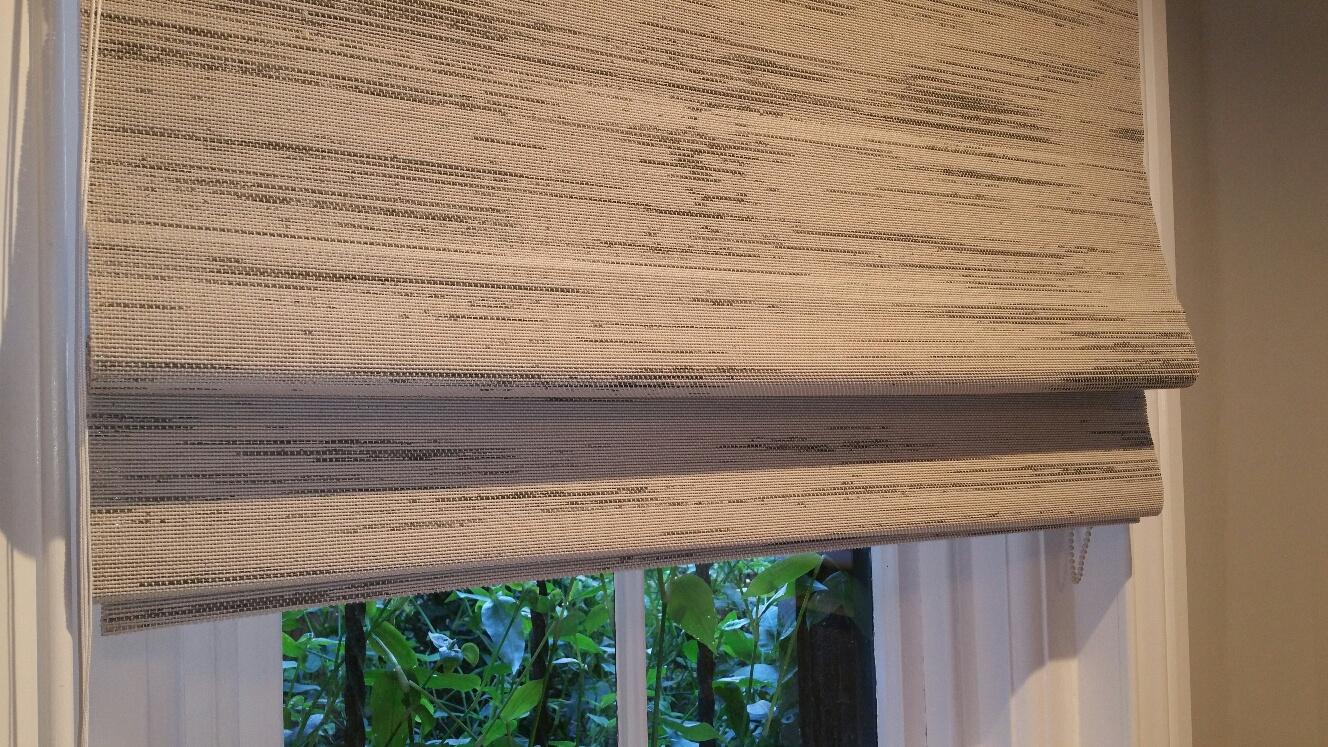 Custom Grass Cloth Woven Wood Roman Shades